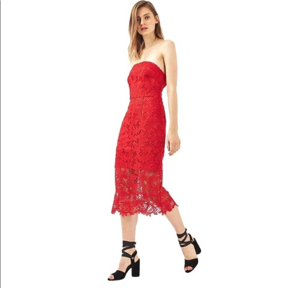 71e08eae968 New topshop red lace strapless midi dress Sz 4